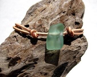 Hawaiian Aqua Blue Rectangular Beach Glass on India Leather Cord Completely Adjustable & Stackable Bracelet