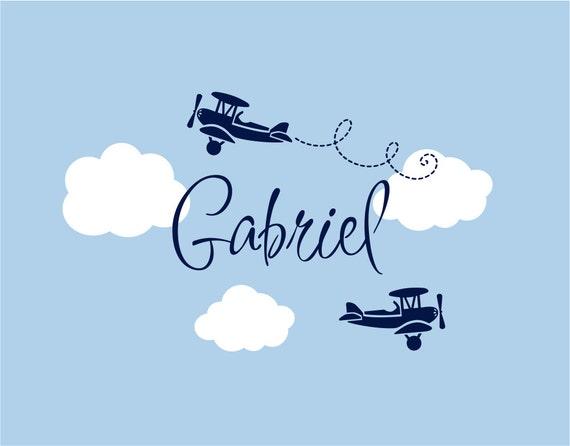 Items Similar To Airplane Wall Decals Airplane Cloud And