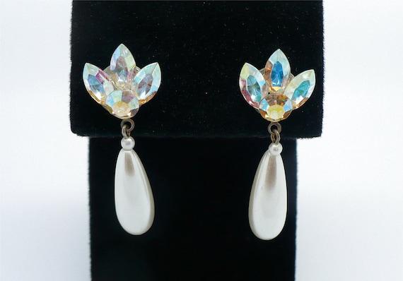 SALE! Amazing Aurora Borealis (AB) Rhinestone & Pearl Bridal Earrings - Pierced, White Pearl Drops, AB Wedding Earrings