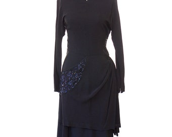 Vintage 1940s Evening Dress / 1940s Black Rayon Dress / 40s Black Beaded Dress