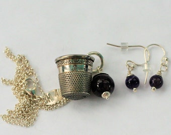 Thimble and Acorn Kisses for Wendy Necklace and Earrings Set Solid Sterling Silver and Amethyst - Peter Pan and Wendy