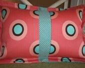 Outdoor Pillow, rectangular, called The Polka, custom designed handmade pink/coral/aqua