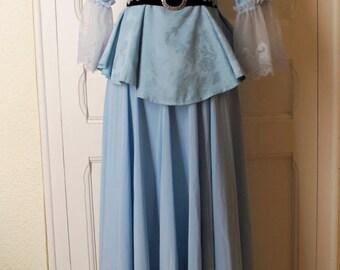 Blue brocade rococo dress set, belt and shawl
