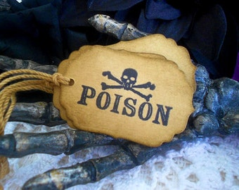 Skull and Crossbone Poison Gift Hang Tags Coffee Stained
