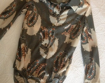 Vintage 1970s Paisley Bodysuit Onesie in a Size XL
