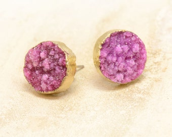 1 Pair - Round Pink REAL Druzy Crystal Earring Posts 24K Gold Plated Studs 10mm Round Earrings