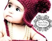Baby Bear Earflap Hat - Newborn Pom-Pom Beanie