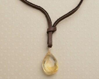 Citrine Necklace, Citrine Pendant Necklace, November Birthstone, Healing Gemstone Jewelry, Summer Necklace