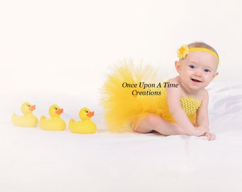 Ready To Ship - Yellow Couture Tutu or Dress - Ducky Photo Prop, Halloween Costume - Newborn Girl Infant Size 3 6 9 12 Months 2T 3T 4 5 6