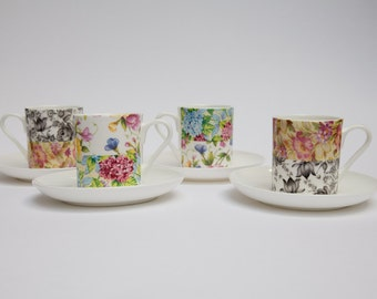 Patchwork Bone China Espresso Cup And Saucer Set