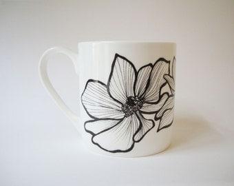 Anemone Bone China Mug Large   Summer Garden   Floral   Botanical   Flower Mug   Tea Mug   Coffee Mug   Housewarming Gift