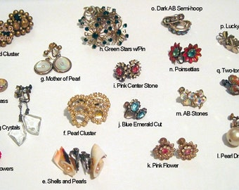 Vintage Earrings 1950's - many to choose from