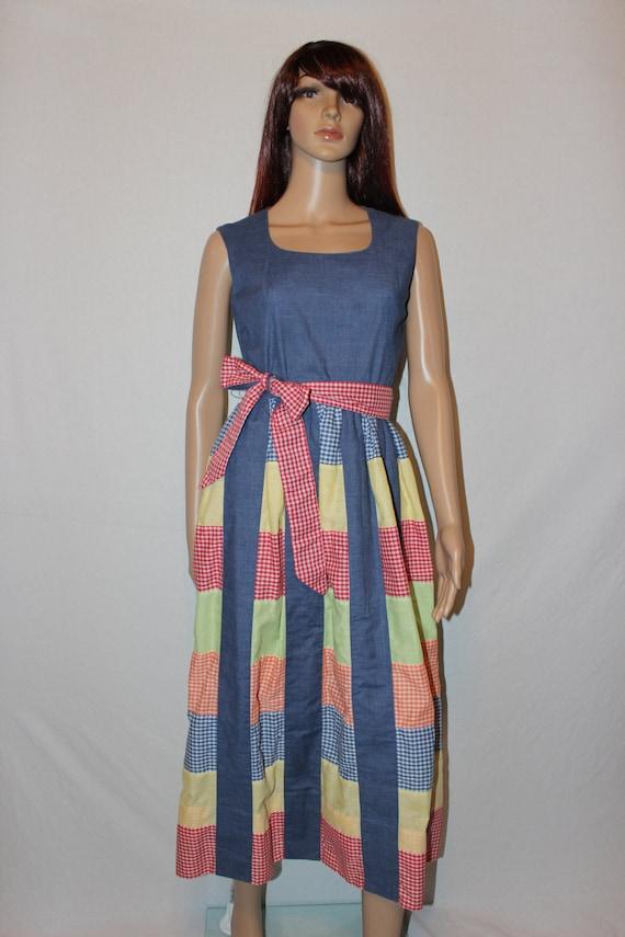Vintage 70s Gingham Patchwork Dress - Hippie Dress - Festival Dress -  B. Altman & Co. - Size 4/6
