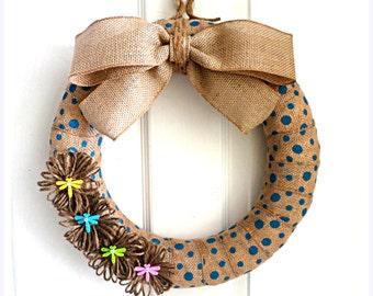 Spring Wreath - Easter Burlap Wreath - Modern Wreath - Burlap Wreath - Choose Your Size - Choose Your Burlap
