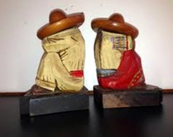 Vintage hand carved sleeping Mexican humidors or  bookends with secret compartment