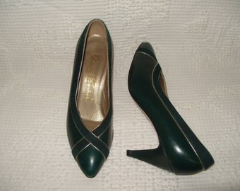 DAVID EVINS Rich Green Leather Suede Heels Shoes 6 (Made In Italy)