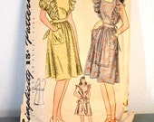 1940s Vintage Simplicity Pattern 4632 Misses Dress or Pinafore size 16 bust 34