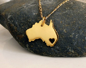 Australia Necklace - 18K Gold Plated Necklace - Gold State Necklace - Australia Charm - I heart Australia - I love Australia