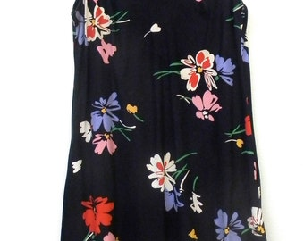 S Small Vintage 60s 70s Mr. B of California Black Bold Floral Print Small Hipster Tent Boho Festival Summer Indie Hippie Sundress Dress