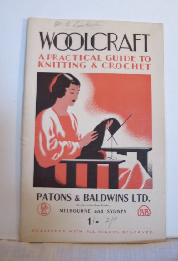 Vintage 1930s Rare 'Woolcraft' Patons & Baldwins Knitting Book