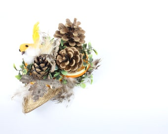 RESERVED! Fascinator Headpiece Woodland Inspired in Gold with Yellow Bird, Orange Slices, Pine Cones and Brown Feather