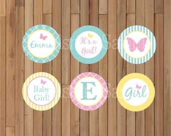 """DIY Printable Personalized Butterfly Garden 2"""" Party Circles/Cupcake Toppers by Pixels n Ink -"""