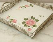 Vintage Handpainted Tole Serving Tray Roses Fine Art Studio Philadelphia