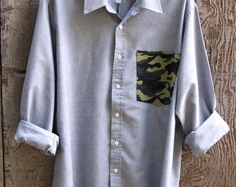 SALE GREY CHAMBRAY Camouflage upcycled camo pocket shirt long sleeve button up oxford contrast pocket grunge recycled unisex mens large