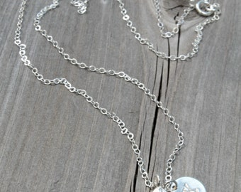Initial Necklace,Fine 925 sterling silver chain & Angel Feather pendant, personalized stamped letter, Custom monogram, bridesmaids