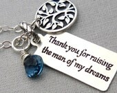 Thank You for raising the man of my dreams Personalized Wedding Gift for MIL Necklace for Mother In Law Jewelry Grooms Mom Mother