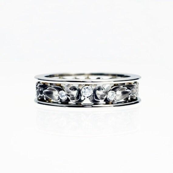 Diamond Ring White Gold Wedding Band By TorkkeliJewellery On Etsy