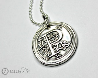 Letter Charm, Necklace, Mother's Day Gift, Mom Jewelry Custom Gift, Monogram Wax Seal Pendant  Personalized Gift