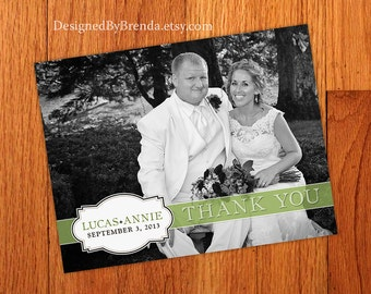 Wedding Thank You Postcards with image on back - Banner and Name Plaque can be ANY color - Simply Vintage - Free Shipping Worldwide