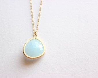 Gold Necklace - Stone Necklace - Long Necklace - Large Light Blue Glass Stone Pendant on Matte Gold Chain Necklace