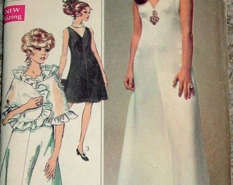 Vintage 1968 Simplicity 7951 Designer Fashion Evening Dress in Two Lengths & Ruffled Stole Sewing Pattern Size 8 Bust 31 1/2""
