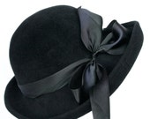 Black Fur Felt Velour Women's Hat, Medium Up Turn Brim Hat