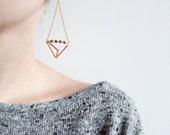 SALE 20% off! Geometric triangle pyramid metallic dangle earrings, geometric earrings.