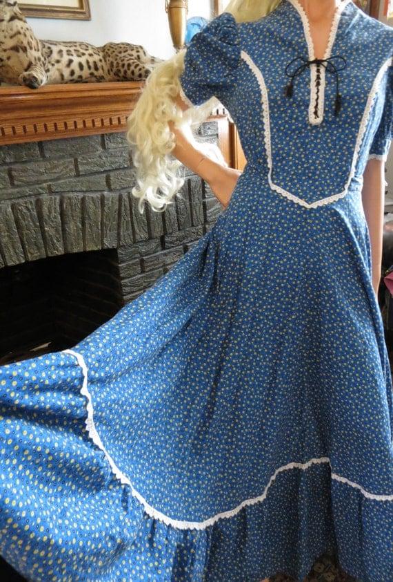 Vintage Little House On The Prairie Dress Blue Cotton Calico
