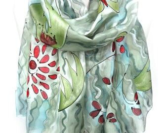 Whimsy Scarf. Blue Green Silk Scarf. Hand Painted Scarf. Sparkle Scarf. Birthday Gift. Genuine Silk Art. 18x71in. MADE to Order