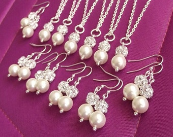Bridesmaid jewelry, bridesmaid necklace and earrings, rhinestone and pearl wedding jewelry, bridesmaid jewelry set of 8, pearl drop sets