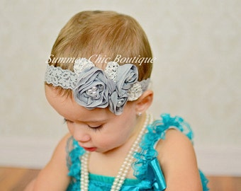Gray Baby Headband, Infant Headband, Newborn Headband, Shabby Chic Headband, Gray Triple Chiffon Flower Headband,  Gray Chiffon headband