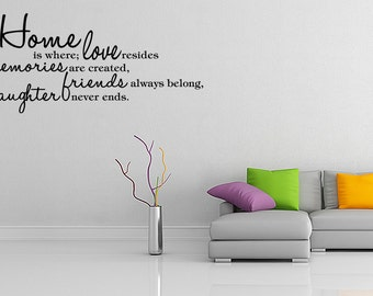 Home Is Where Love Resides Quote Vinyl Wall Decal Sticker Art Decor (05)