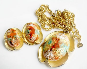 Judy Lee Necklace Earring Set Vintage Art Glass 1960s Orange Gold Turquoise Blue Collectible Jewelry Original Hang Tag Summer