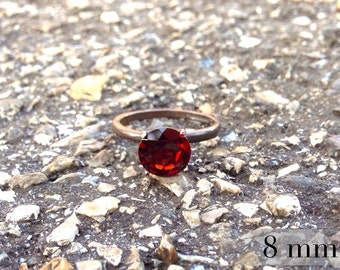 Garnet Ring in Blackened Sterling Silver, Bridesmaids Gifts, January Birthstone Ring with Garnet in Blackened Silver