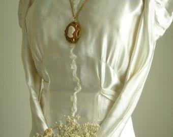 1930 Charmeuse Candlelight Satin w/Soutache Design Bridal Wedding Gown