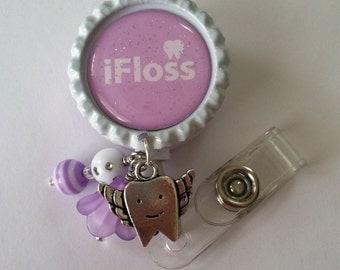 iFloss Retractable ID Badge Reel-ID Badge Holder-Dentist, Dental Assistant, Dental Hygienist, Dental Badge, Dental gift