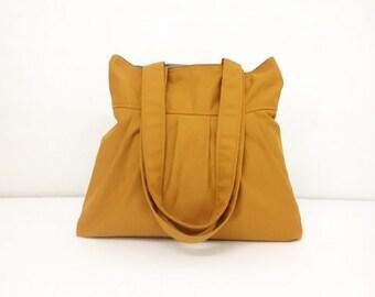 Women bag Cotton bag Canvas Bag Diaper bag Shoulder bag Hobo bag Tote bag Purse Everyday bag Pleated bag Mustard Mally