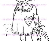A digital stamp/image instant download.... Little Moppet in the garden