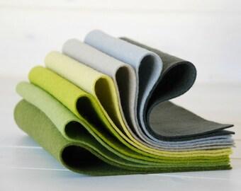 """100% Wool Felt Sheets - """"Lichen Collection"""" - 7 Wool Felt Sheets of 8"""" x 12"""" -  Wool Felt Sheets Bundle - 100 wool felt"""