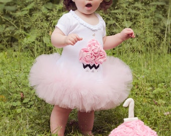 Chevron Print Cupcake Smash Cake Photo Prop Birthday Rose Tutu Dress Infant Toddlers Girls